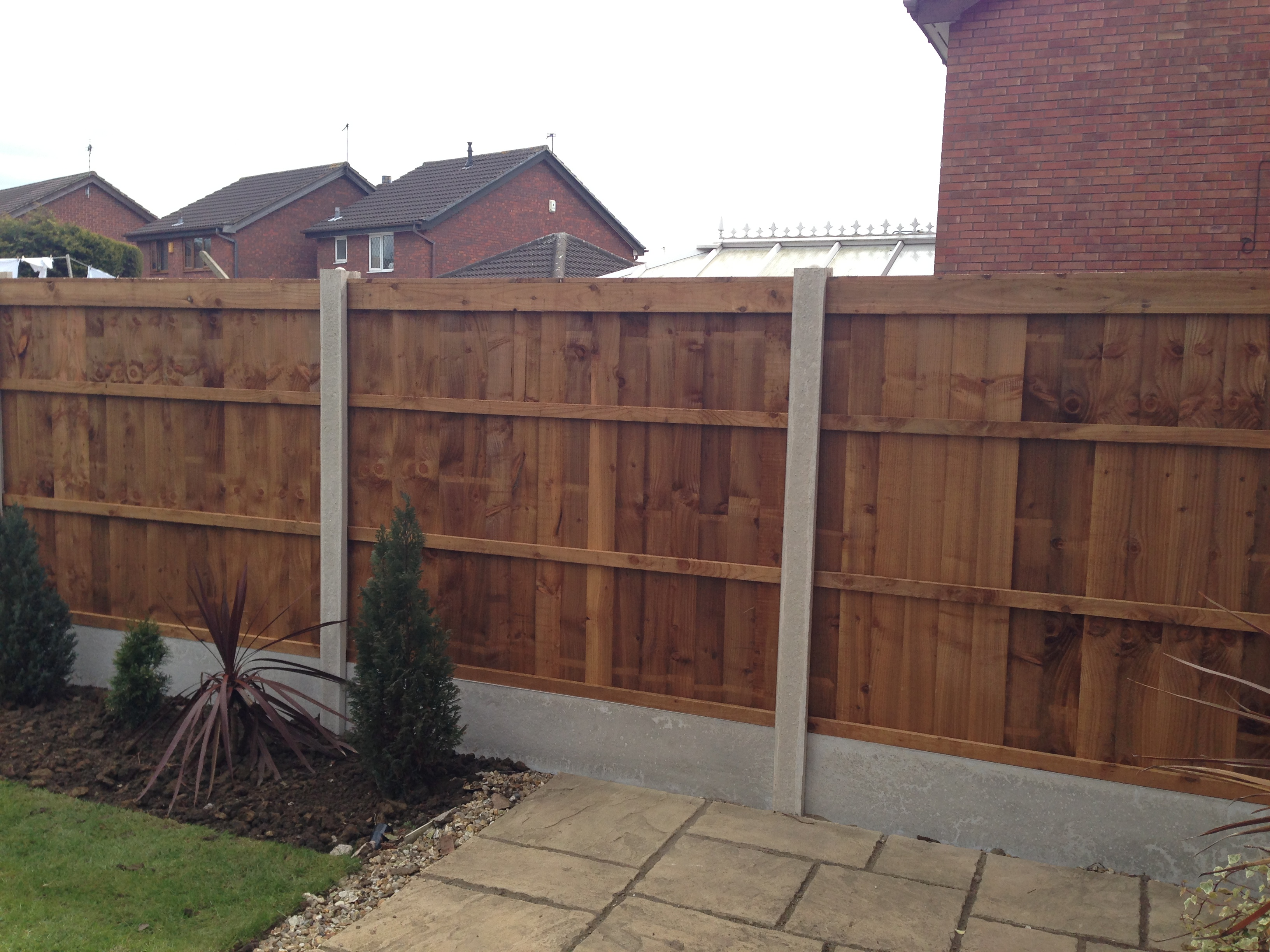 Premium feather edge long eaton fencing premium feather edge panels in situ with concrete posts and gravel boards rear baanklon Image collections