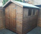 Apex shed  8ft x 6ft with toughened glass, delivered, treated and erected in Long Eaton 2016