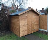 10ft x 8ft Apex shed with 3ft wide door, key lock and A frame roof support.