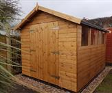 10ft x 8ft Apex shed. Double doors, long throw key lock, toughened glass and polyester felt.