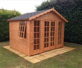 10ft x 8ft Georgian Summerhouse with Roofing Shingles - Widmerpool