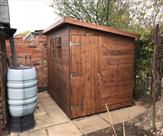 8 x 6 pent shed with door on end.