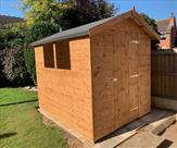 8ft x 6ft Apex shed. This one was delivered, treated and fitted in Toton.