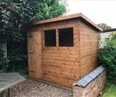 8ft x 6ft Pent shed with key lock and 5 keys. Delivered, treated and erected in Long Eaton.