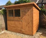 8ft x 6ft pent shed, fitted with key lock, toughened glass and polyester roofing felt. Delivered, treated and fitted in Shardlow.