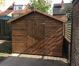 Apex shed 10ft x 9ft with 3ft wide door and key lock, delivered, treated and erected in Long Eaton.