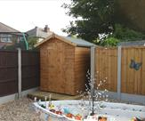 Apex shed 6ft x 5ft delivered, treated and erected in Sandiacre.
