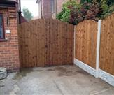 Arched Matchboard Double Gates Treated Mid Brown Front
