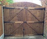 Arched Matchboard Double Gates Treated Mid Brown Rear
