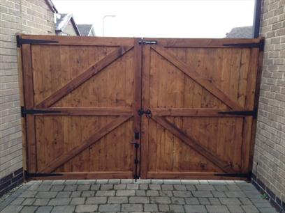 Rear view of double mortice and tenon gates