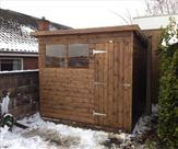 Pent Matchboard Shed Treated Mid Brown 8' x 6'