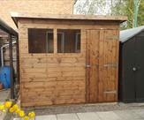 Pent shed 8ft x 7ft delivered, treated and erected in The Meadows, Nottingham.