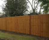 Premium feather edged fence panels with wooden posts and caps.