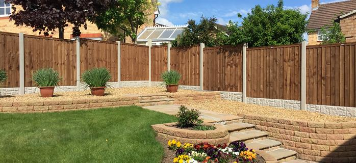 Rock faced gravel boards and premium feather edge fence panels TFI