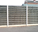 Concrete Slotted Posts, 6inch smooth gravel board and 6 x 6 Horizontal Hit and Miss Fence Panel