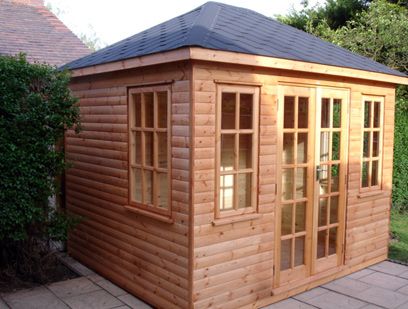 10ft x 8ft Hipped Roof Loglap Summer House.