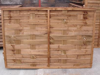Interwoven Fence Panel. Pressure treated brown.